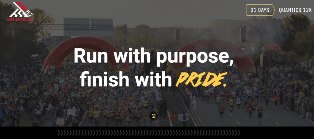 Marine Corps Marathon giver en klar opfordring til handling.