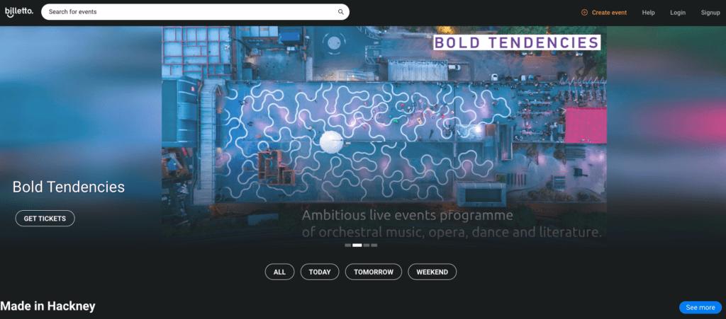 Hjemmesider til eventregistrering online: Hjemmesiden Billetto.